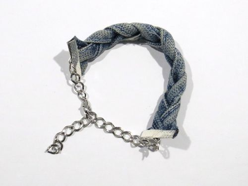 hand made in Holland  stretch Jeans gevlochten armband ± 23cm